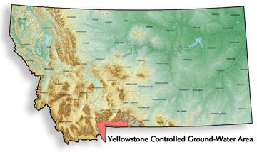 Location map for Yellowstone controlled groundwater area